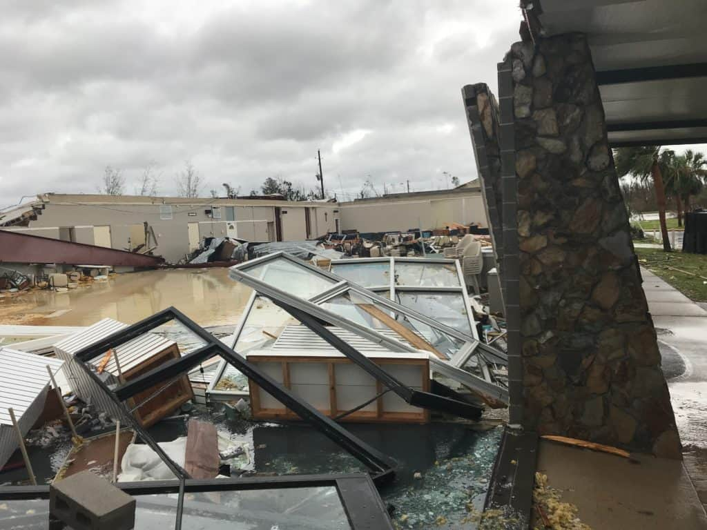 Damage to St. Dominic Catholic Church in Panama City after Hurricane Michael