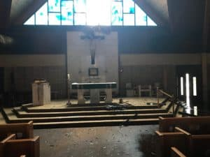 Sanctuary damage to St. Dominic Catholic Church in Panama City after Hurricane Michael