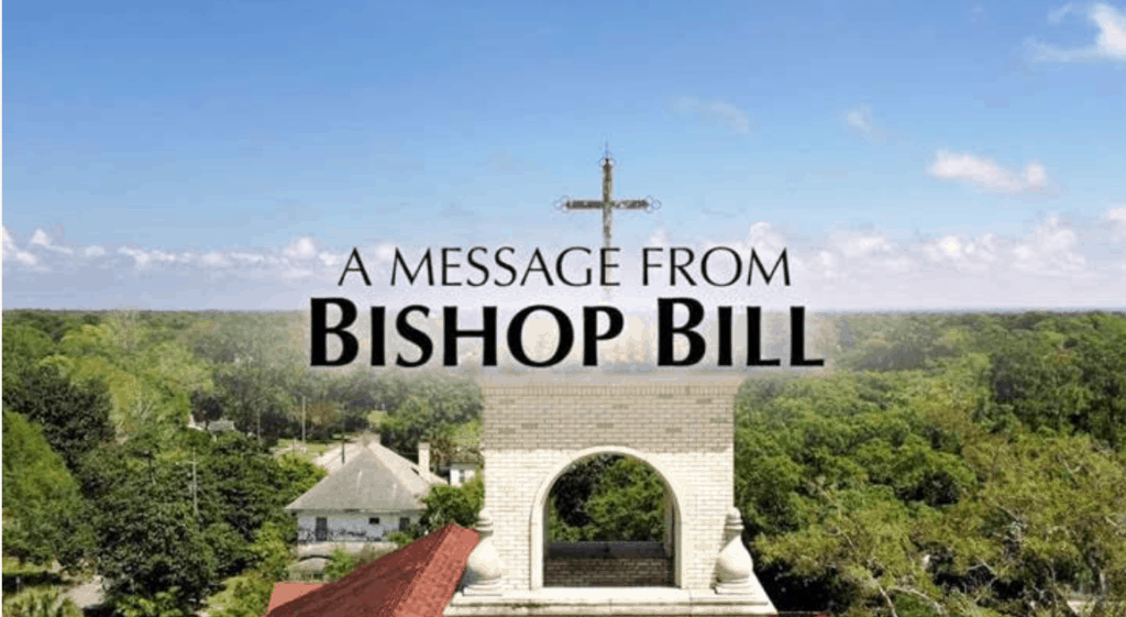 An aerial view of Sacred Heart Catholic Church shows the words