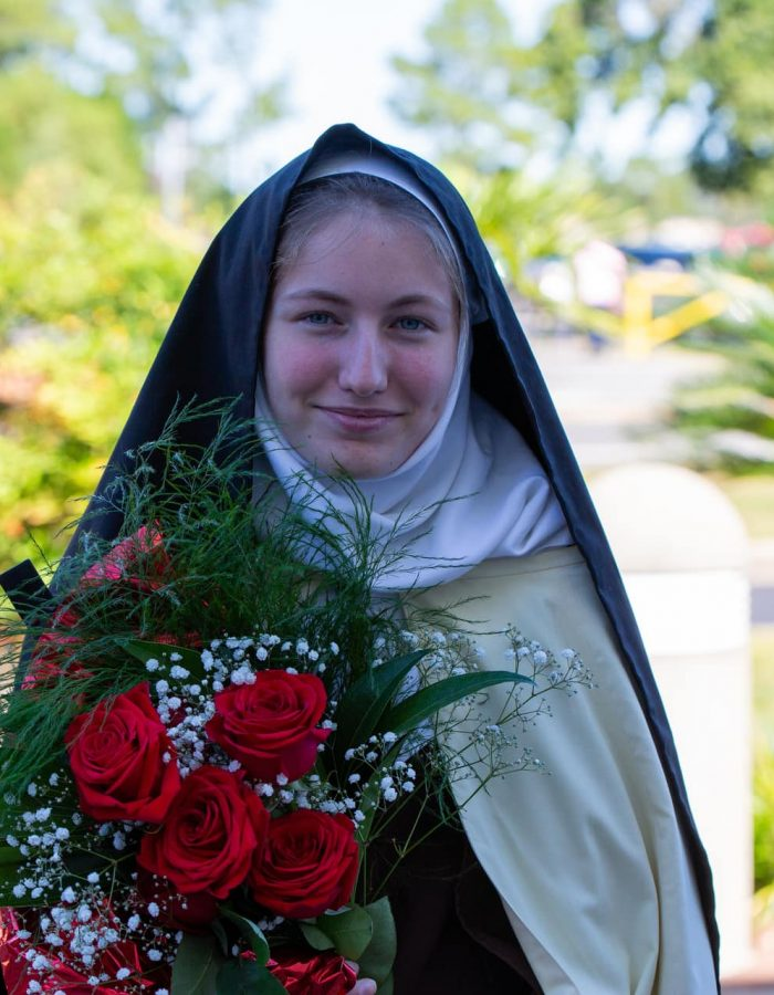 A student dressed as St. Thérèse of Lisieux, during our St. Thérèse of Lisieux parish wide festival at Little Flower Church in Pensacola, Florida